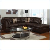 Poundex Bobkona U-Design Bonded Leather 3-Piece Sectional in Bungalow Espresso