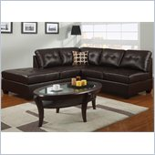 Poundex Bobkona U-Design Bonded Leather 2-Piece Sectional in Comely Espresso