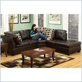 Poundex Bobkona U-Design Bonded Leather 3-Piece Sectional in Demesne Espresso