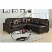 Poundex Bobkona U-Design Bonded Leather 2-Piece Sectional in Dulcet Espresso