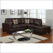 Poundex Bobkona U-Design Bonded Leather 3-Piece Sectional in Ethereal Espresso