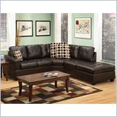 Poundex Bobkona U-Design Bonded Leather 3-Piece Sectional in Felicity Espresso