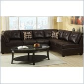 Poundex Bobkona U-Design Bonded Leather 2-Piece Sectional in Halcyon Espresso