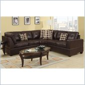 Poundex Bobkona U-Design Bonded Leather 3-Piece Sectional in Lissome Espresso