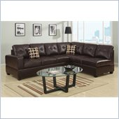 Poundex Bobkona U-Design Bonded Leather 2-Piece Sectional in Lithe Espresso