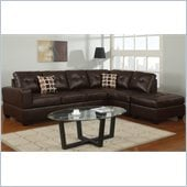 Poundex Bobkona U-Design Bonded Leather 3-Piece Sectional in Lush Espresso