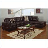 Poundex Bobkona U-Design Bonded Leather 3-Piece Sectional in Mellifluous Espresso