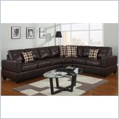 Poundex Bobkona U-Design Bonded Leather 3-Piece Sectional in Moiety Espresso