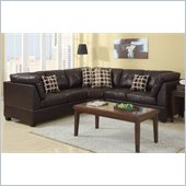 Poundex Bobkona U-Design Bonded Leather 3-Piece Sectional in Opulent Espresso