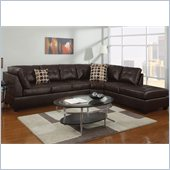 Poundex Bobkona U-Design Bonded Leather 3-Piece Sectional in Pastiche Espresso