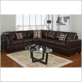 Poundex Bobkona U-Design Bonded Leather 3-Piece Sectional in Petrichor Espresso