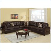 Poundex Bobkona U-Design Bonded Leather 3-Piece Sectional in Serendipity Espresso