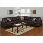 Poundex Bobkona U-Design Bonded Leather 3-Piece Sectional in Summery Espresso