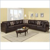 Poundex Bobkona U-Design Bonded Leather 3-Piece Sectional in Sumptuous Espresso