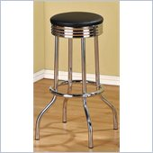 Poundex 29 Swivel Bar Stools in Black/Silver Color (Set of 2)