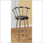 Poundex 24 Swivel Bar Stools in Black/Silver Color (Set of 2)