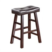Poundex Country Series Counter Stool in Dark Cherry Finish (Set of 2)