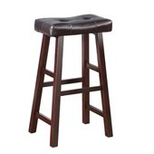 Poundex Country Series Bar Stool in Dark Cherry Finish (Set of 2)