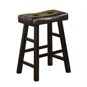 Poundex Country Series 24 Counter Stool in Espresso Finish (Set of 2)