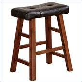 Poundex Faux Leather 24 Barstools in Walnut/Brown Color (Set of 2)