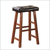 Poundex Faux Leather 29 Barstools in Walnut/Brown Color (Set of 2)