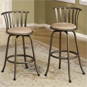 Poundex Sophia Swivel Barstool Adjustable Height (Set of 2)