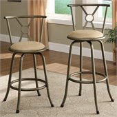 Poundex Glow Swivel Barstool Adjustable Height (Set of 2)