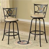 Poundex Rector Swivel Barstool Adjustable Height (Set of 2)