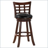 Poundex Retro Flair Adjustable Swivel Barstool in Dark Brown