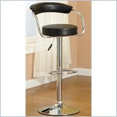 Poundex Retro Flair Adjustable Swivel Barstool in Faux Leather