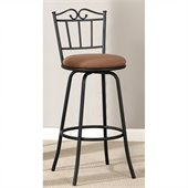 Poundex Adjustable Swivel Barstool in Black