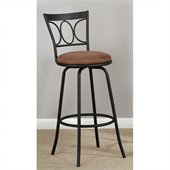 Poundex Adjustable 24 or 29 Swivel Barstool in Black