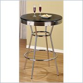 Poundex Retro Bar Table, Metal Chrome