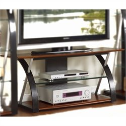 Poundex Lonture Component Tower TV Stand in Brown and Espresso
