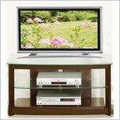 Poundex 3-Tier Glass Top TV Stand in Chocolate