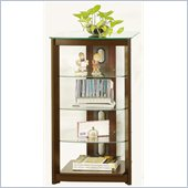 Poundex 5-Tier Glass Top Media Shelf in Chocolate