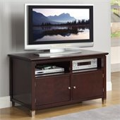 Poundex Two Shelf Double Door TV Stand in Brown Hue