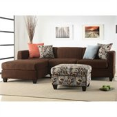 Poundex Simplistic Microfiber Sectional with Ottoman in Dark Chocolate