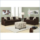 Poundex Benford Velvet Fabric Sofa and Loveseat Set in Chocolate