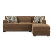 Poundex Benford Velvet Fabric Chaise-Love Sectional in Tan