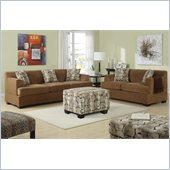 Poundex Benford Velvet Fabric Sofa and Loveseat Set in Tan