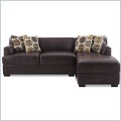 Poundex Benford Faux Leather Chaise-Love Sectional in Dark Chocolate