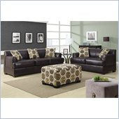 Poundex Benford Faux Leather Sectional in Dark Chocolate