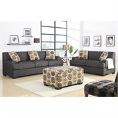 Poundex Benford Faux Linen Sofa and Loveseat in Ash Black