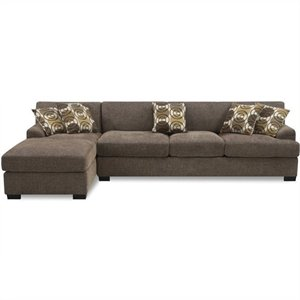 Poundex Benford Faux Linen Chaise-Sofa Sectional in Slate
