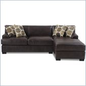 Poundex Benford Faux Leather Chaise-Love Sectional in Dark Coffee