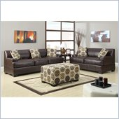 Poundex Benford Faux Leather Sofa and Loveseat in Dark Coffee
