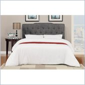 Poundex Queen Faux Linen Headboard in Ash Black