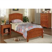 Poundex 3 Piece Kids Twin Size Bedroom Set in Medium Oak Finish