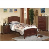 Poundex 3 Piece Kids Twin Size Bedroom Set in Dark Oak Finish
